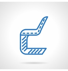 Plastic chair blue line icon vector
