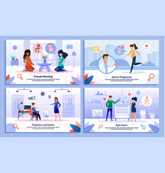 pregnant woman active life career posters vector image