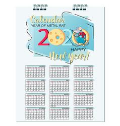 Rat calendar 2020 mouse symbol new year vector