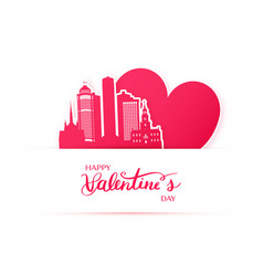 red heart and silhouette of detroit city paper vector image