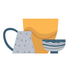 Rustic or homemade dishware plate and bowl vector