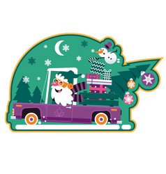 Santa driving retro car with green tree and vector