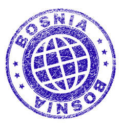 Scratched textured bosnia stamp seal vector