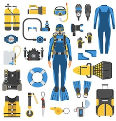 Scuba Diving and Snorkeling Gear Set vector image