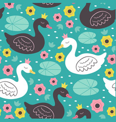 seamless pattern white and black princess swan vector image