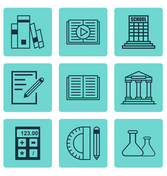 Set of 9 education icons includes chemical vector