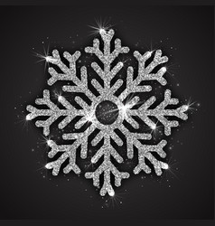 silver sparkling snowflake vector image