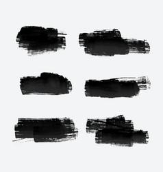 six grunge paint stroke set vector image