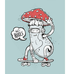 Skater mushroom vector