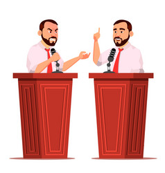 speaker man podium with microphone giving vector image