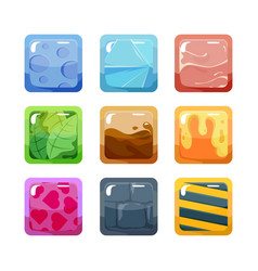textural game buttons set colored design square vector image