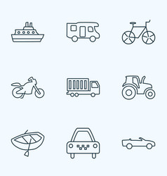 Transportation icons line style set with cruise vector