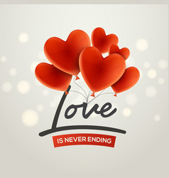 valentine red holiday balloon greeting card vector image