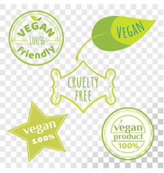 vegan free labels collection isolated on vector image
