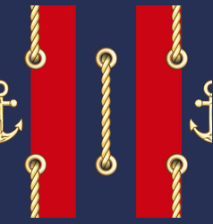 Vertical straped ropes with golden metal eyelets vector