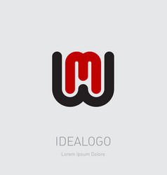 w and m initial logo wm initial monogram logotype vector image