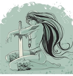 Warrior woman with long hair in tattoos and vector