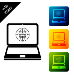 website on laptop screen icon isolated globe on vector image