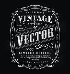 western hand drawn frame label blackboard antique vector image