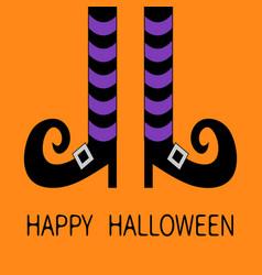 Witch legs with violet striped socks and shoes vector