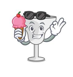 with ice cream margarita glass character cartoon vector image