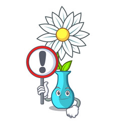 with sign vase with bouquet of beautiful cartoon vector image