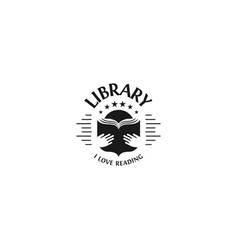 black and white library logotype on white vector image vector image