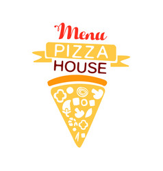colorful logo for pizza house menu with ribbon and vector image vector image
