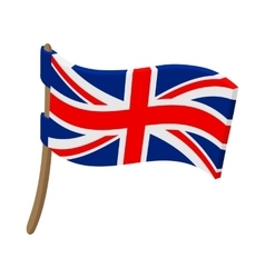 Great Britain flag with flagpole icon vector image