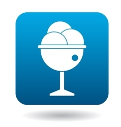 Ice-cream balls in bowl icon simple style vector image