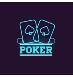 Poker Blue Neon Sign vector image