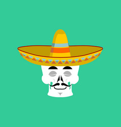 skull in sombrero sleeping emoji mexican skeleton vector image