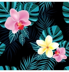 Tropical foliage and flowers vector image