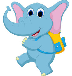 cute elephant going to school vector image vector image