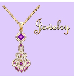 Pendant necklace with precious stones and filigree vector image vector image