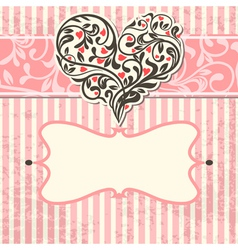 vintage card with abstract heart vector image vector image