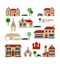 Collection of Various Buildings vector image vector image