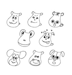 funny pet faces set liner vector image