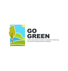 go green logo template nature symbol isolated on vector image