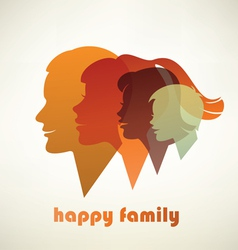 happy family profile silhouettes vector image vector image