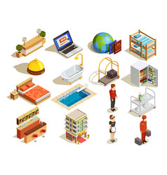 hotel isometric elements set vector image vector image