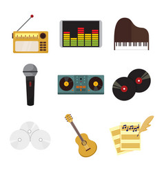 Musical equipment instrument icons graphic set vector