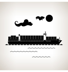 Silhouette cargo container ship on a light backgro vector image