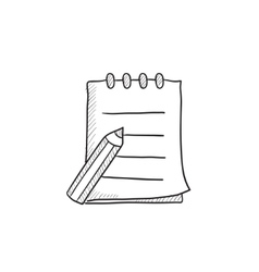Writing pad and pen sketch icon vector image vector image