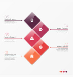 5 option infographic template with squares vector