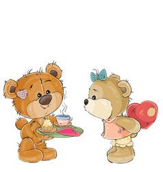 a loving brown teddy bear vector image