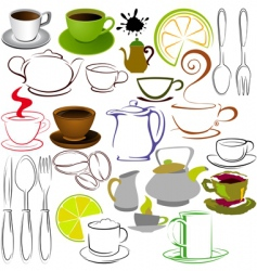 cups and teapots vector image