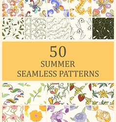 set of 50 seamless retro vector image vector image