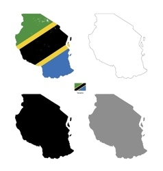 Tanzania country black silhouette and with flag on vector