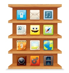 Wood Shelves with Computer Apps Icons vector image vector image